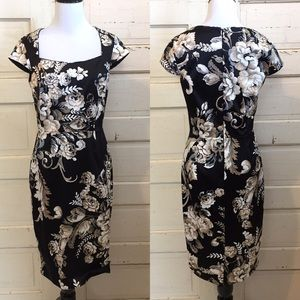 WHBM Floral Satin Fitted Sheath Dress